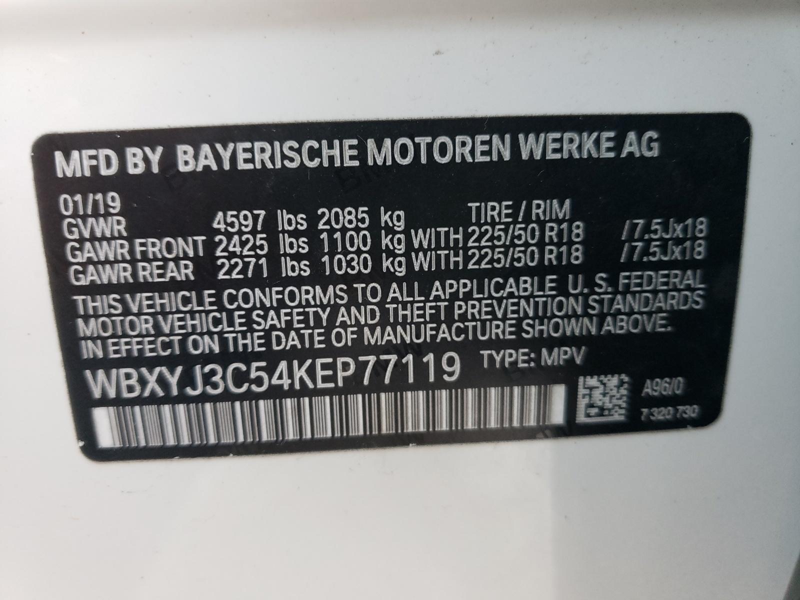 BMW X2 SDRIVE2 2019 VIN WBXYJ3C54KEP77119